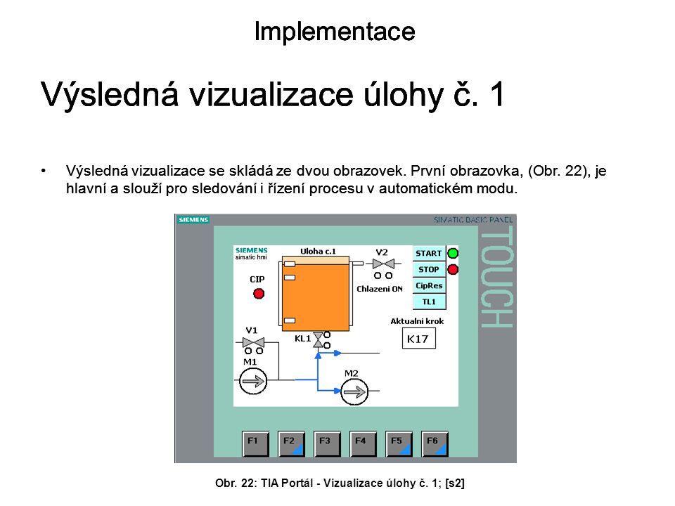 Obr. 22: TIA Portál - Vizualizace úlohy č. 1; [s2]